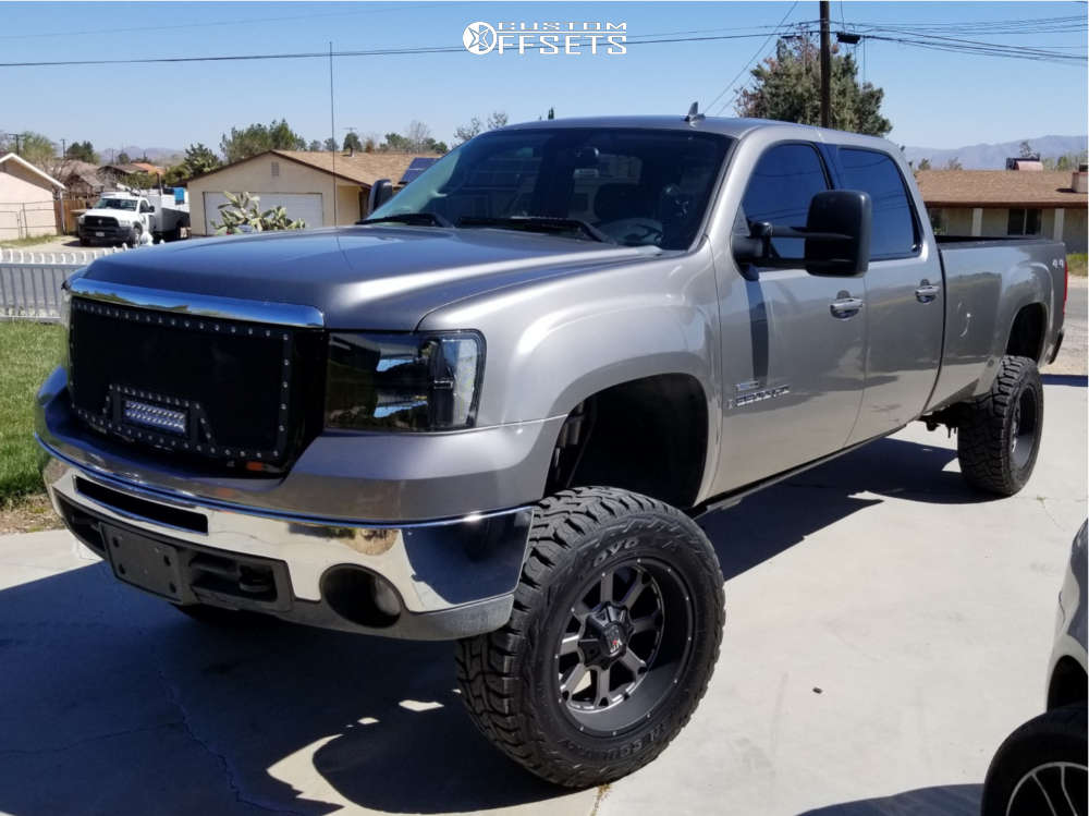 """2008 GMC Sierra 3500 HD Aggressive > 1"""" outside fender on 20x10 -24 offset XD Buck & 35""""x12.5"""" Toyo Tires Open Country R/T on Suspension Lift 4.5"""" - Custom Offsets Gallery"""