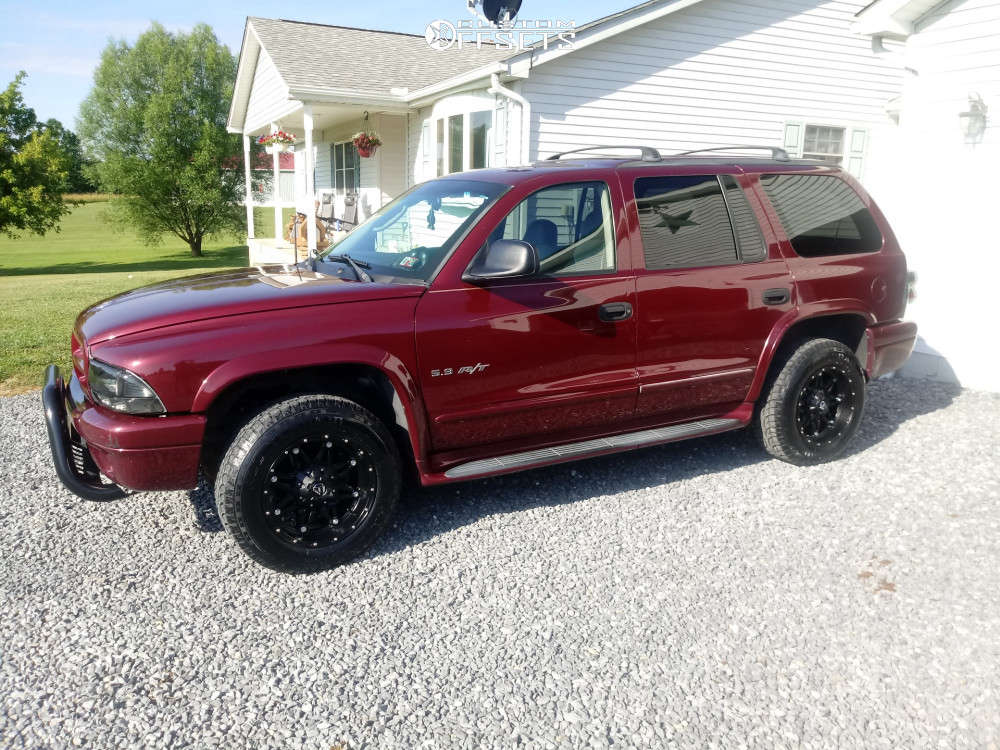 """2002 Dodge Durango Aggressive > 1"""" outside fender on 17x9 -12 offset Fuel Hostage and 245/65 Trail Guide All Terrain on Stock Suspension - Custom Offsets Gallery"""