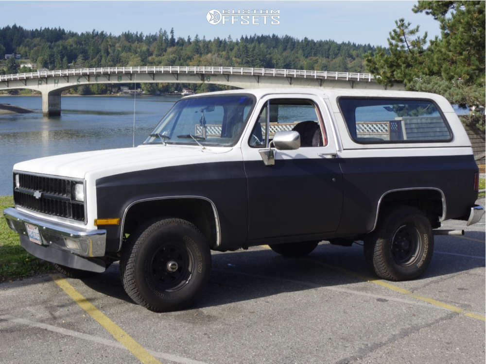 "1982 Chevrolet K5 Blazer Tucked on 15x8 0 offset U.S. Wheel Series 75 & 33""x10.5"" Michelin All Terrain on Stock Suspension - Custom Offsets Gallery"