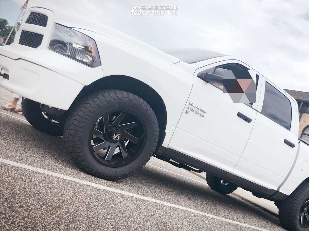 """2014 Ram 1500 Aggressive > 1"""" outside fender on 20x10 -25 offset ARKON OFF-ROAD Lincoln and 305/55 Nitto Ridge Grappler on Leveling Kit - Custom Offsets Gallery"""
