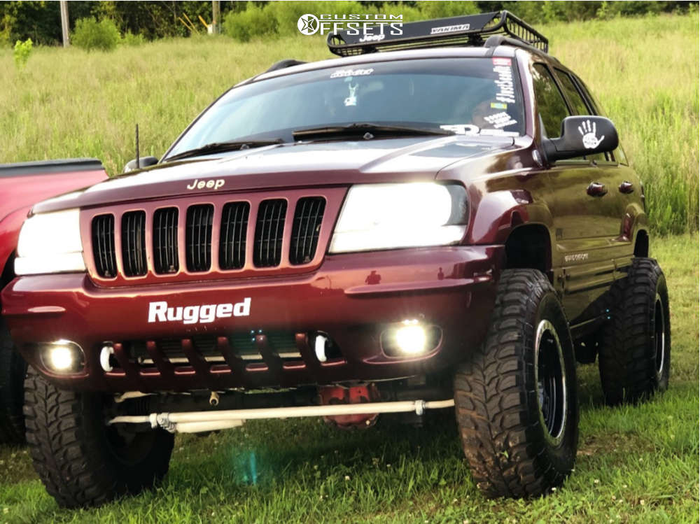 """1999 Jeep Grand Cherokee Aggressive > 1"""" outside fender on 16x8 0 offset Vision Manx & 265/75 Crosswind M/t on Suspension Lift 5"""" - Custom Offsets Gallery"""