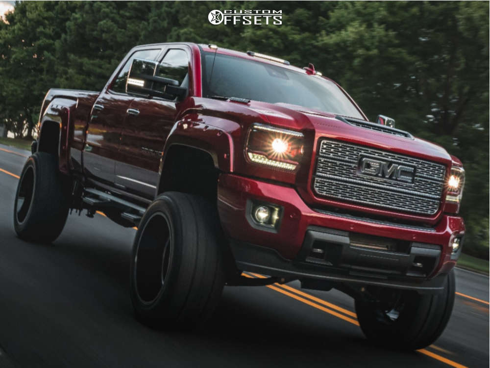 """2019 GMC Sierra 2500 HD Super Aggressive 3""""-5"""" on 24x14 -76 offset Hostile Sprocket & 38""""x15.5"""" Fury Offroad Country Hunter Mt on Suspension Lift 9"""" - Custom Offsets Gallery"""