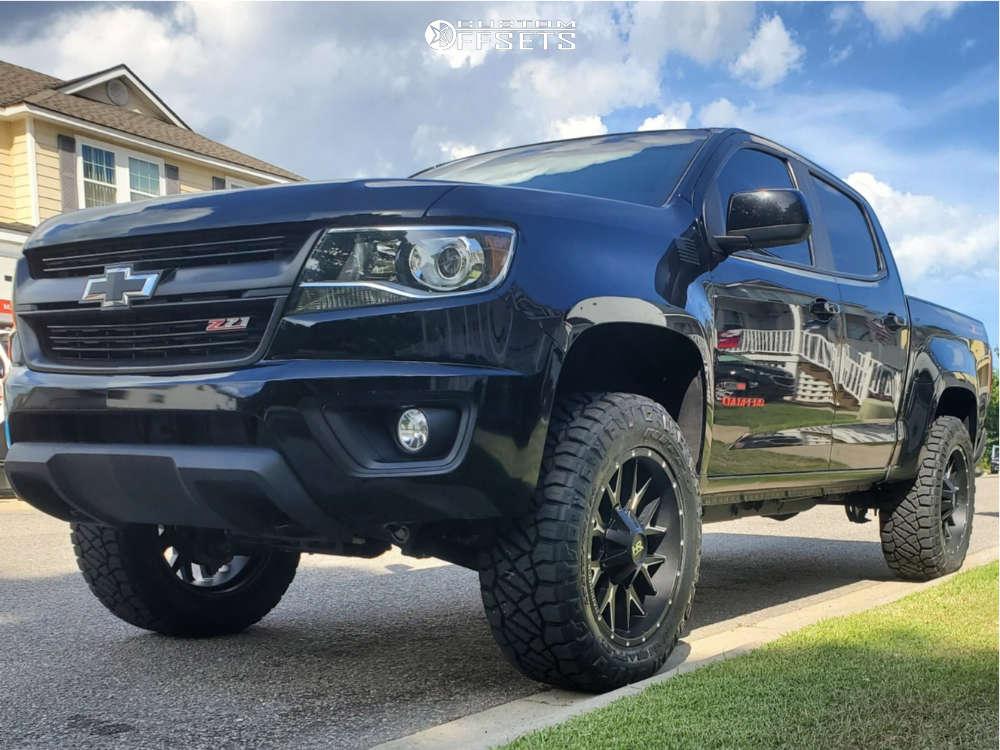 "2016 Chevrolet Colorado Aggressive > 1"" outside fender on 20x9 0 offset Hardrock Affliction & 33""x11.5"" Nitto Ridge Grappler on Suspension Lift 3.5"" - Custom Offsets Gallery"