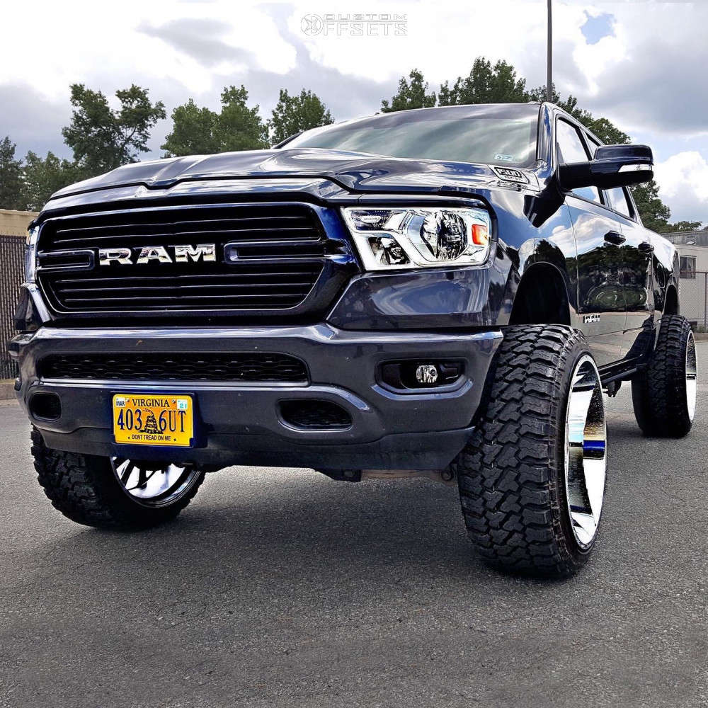 """2019 Ram 1500 Aggressive > 1"""" outside fender on 26x14 -76 offset Hardcore Offroad Hc15 & 37""""x13.5"""" Fury Offroad Country Hunter Mt on Suspension Lift 6"""" - Custom Offsets Gallery"""