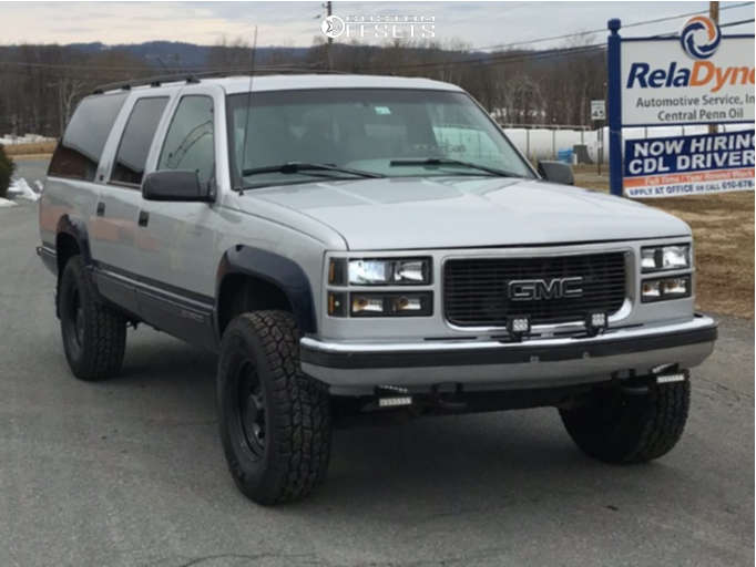 """1996 GMC K2500 Suburban Aggressive > 1"""" outside fender on 16x7 0 offset Vision Soft 8 and 285/75 Cooper Discoverer At3 on Suspension Lift 3"""" - Custom Offsets Gallery"""