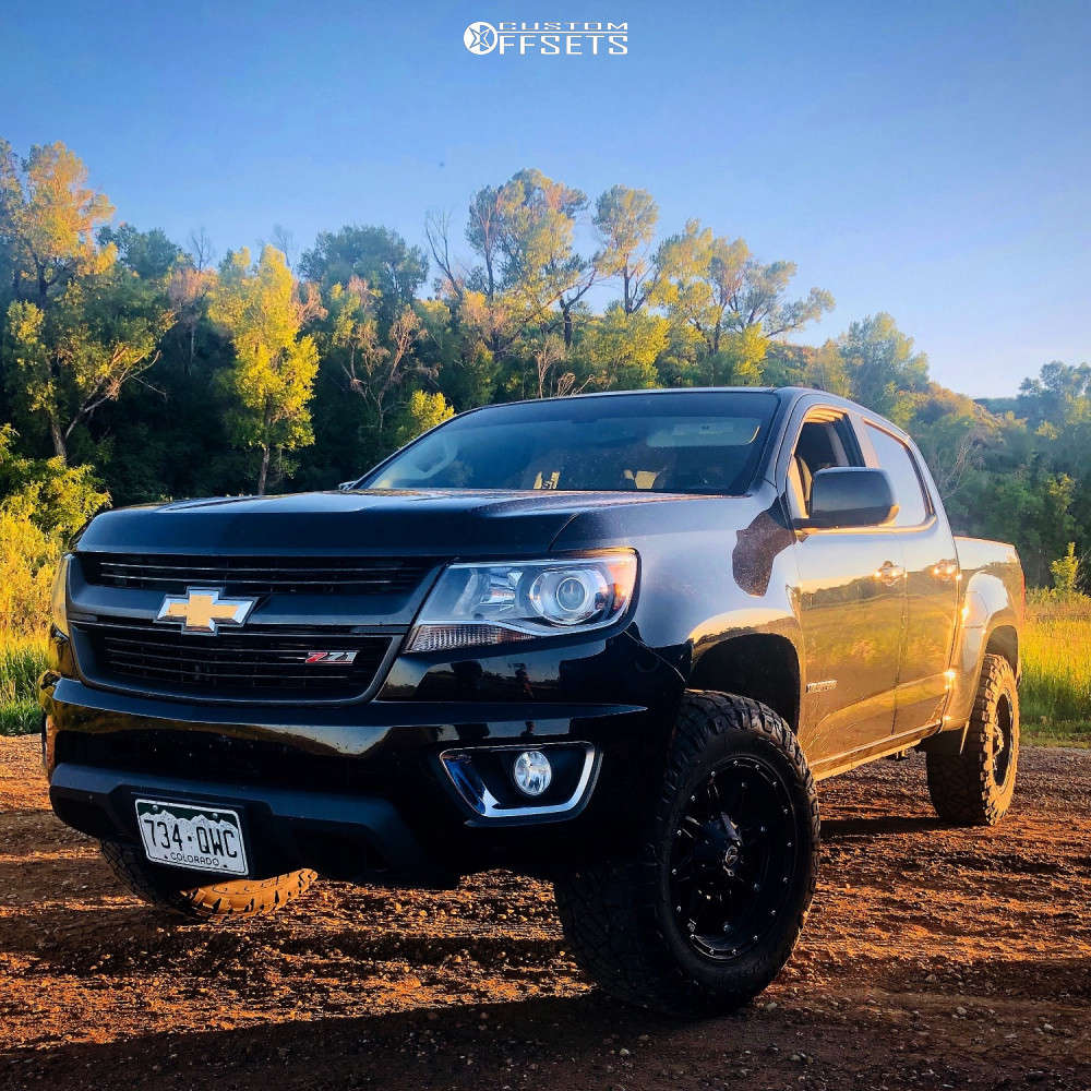 """2016 Chevrolet Colorado Aggressive > 1"""" outside fender on 18x9 1 offset Fuel Hostage & 275/65 Nitto Ridge Grappler on Leveling Kit - Custom Offsets Gallery"""