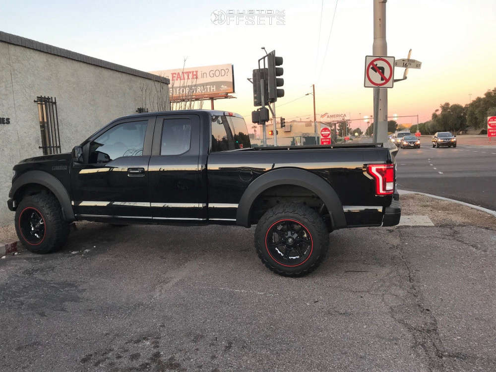 """2016 Ford F-150 Aggressive > 1"""" outside fender on 20x12 -44 offset Mayhem Missile and 35""""x12.5"""" Thunderer Trac Grip M/t on Suspension Lift 6"""" - Custom Offsets Gallery"""