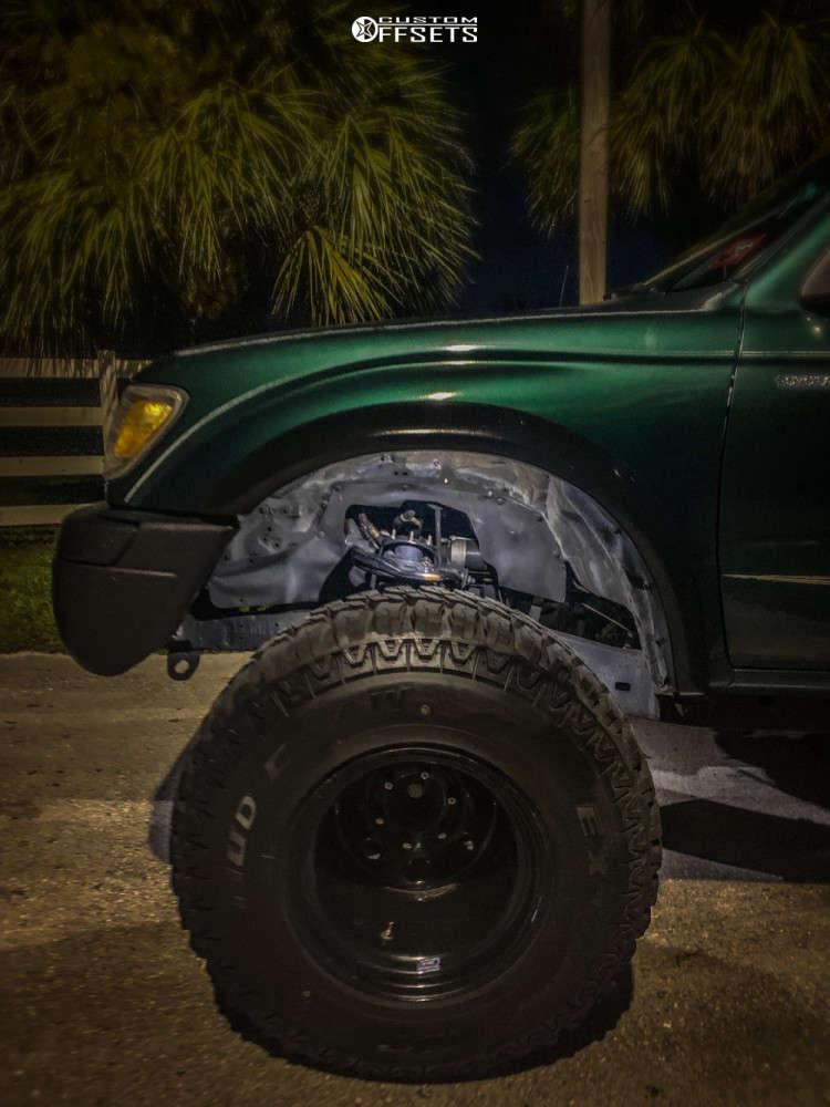 """1999 Toyota Tacoma Hella Stance >5"""" on 15x14 -88 offset Bart Super Trucker and 33""""x12.5"""" Mud Claw Extreme Mt on Leveling Kit & Body Lift - Custom Offsets Gallery"""