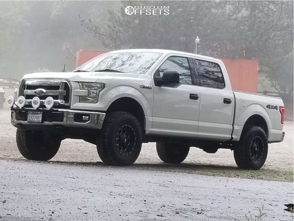 """2015 Ford F-150 Aggressive > 1"""" outside fender on 17x9 -12 offset Fuel Revolver & 285/75 Falken WildPeak At3w on Suspension Lift 3"""" - Custom Offsets Gallery"""