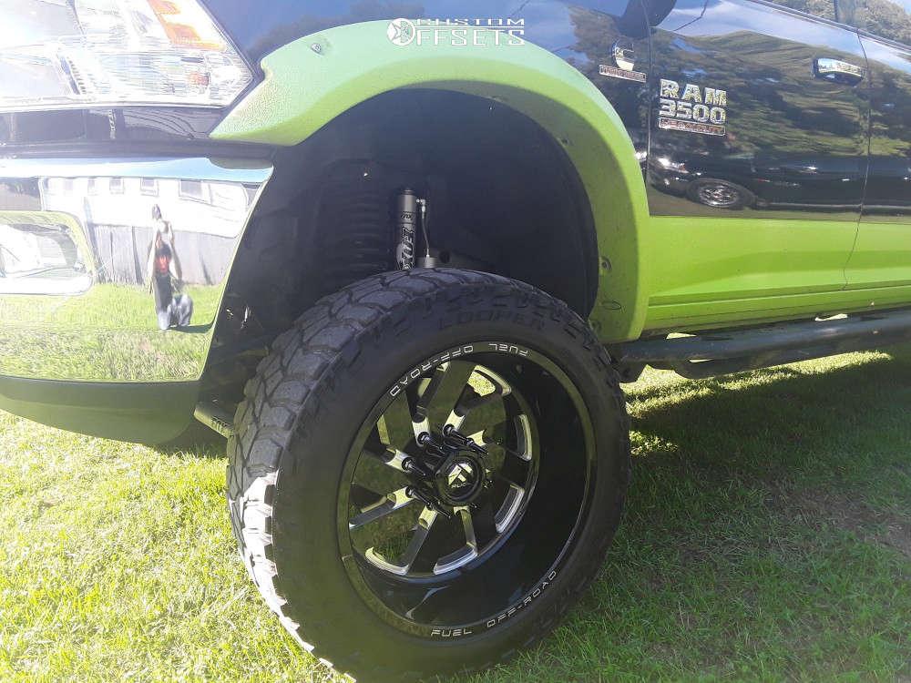 "2016 Ram 3500 Aggressive > 1"" outside fender on 22x12 -43 offset Fuel Turbo & 35""x12.5"" Cooper Discoverer Stt Pro on Suspension Lift 6"" - Custom Offsets Gallery"