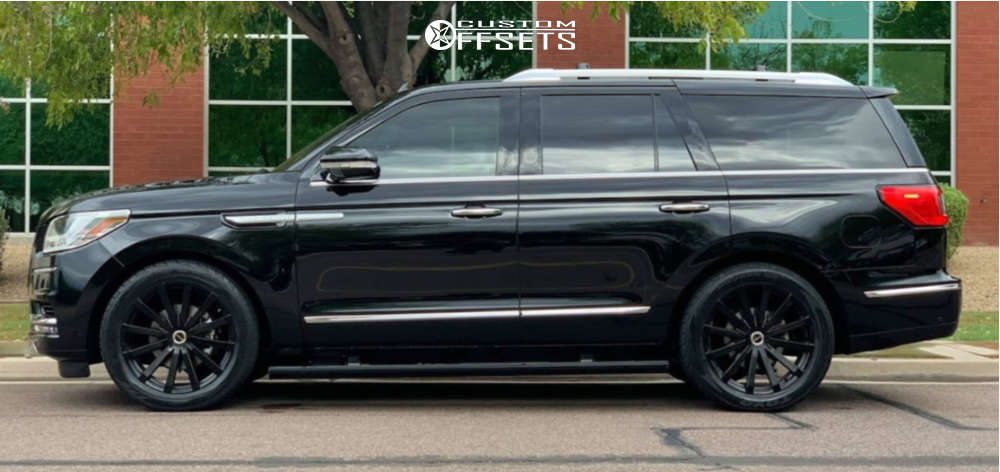 2018 Lincoln Navigator Nearly Flush on 22x9.5 30 offset Strada Gabbia & 305/45 Toyo Tires Proxes St Iii on Lowered on Springs - Custom Offsets Gallery