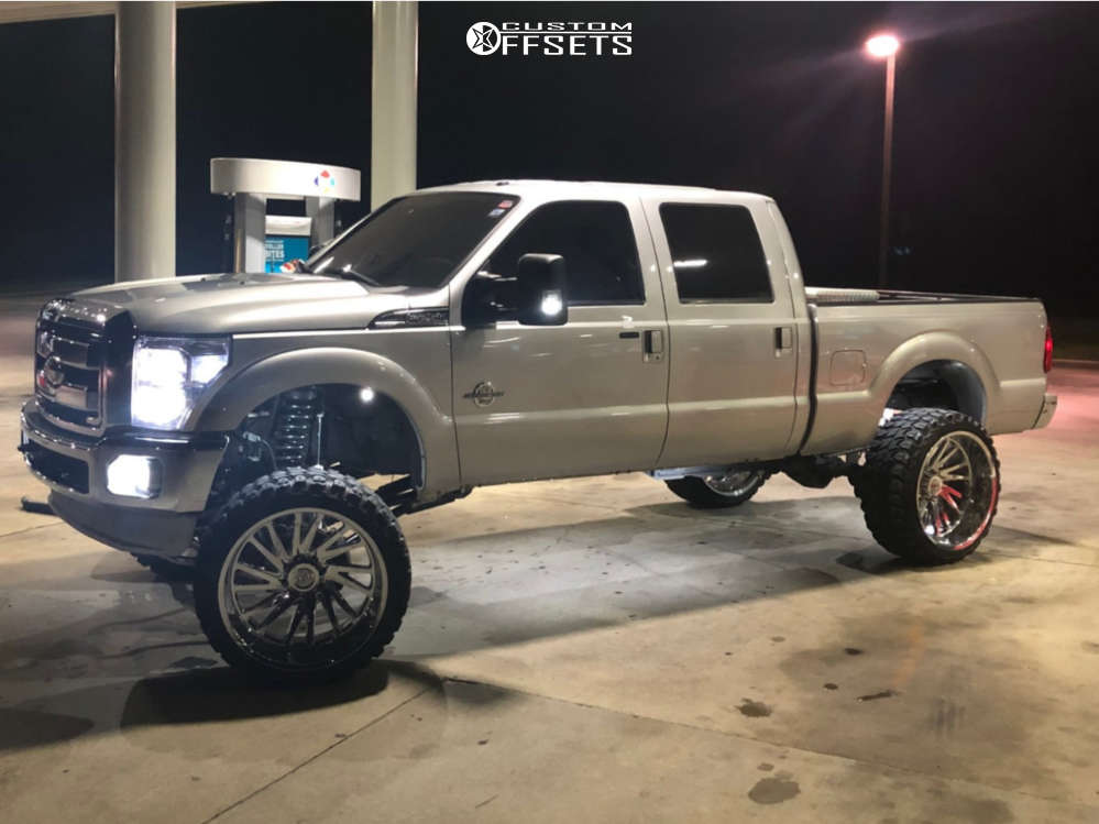 """2011 Ford F-250 Super Duty Aggressive > 1"""" outside fender on 26x14 -76 offset Tuff T2a and 37""""x13.5"""" Gladiator Xcomp Mt on Suspension Lift 8"""" - Custom Offsets Gallery"""