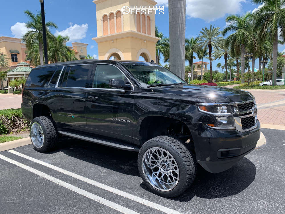 """2016 Chevrolet Suburban Aggressive > 1"""" outside fender on 22x12 -51 offset Vision Rocker & 33""""x12.5"""" Toyo Tires Open Country A/t Ii on Suspension Lift 6"""" - Custom Offsets Gallery"""