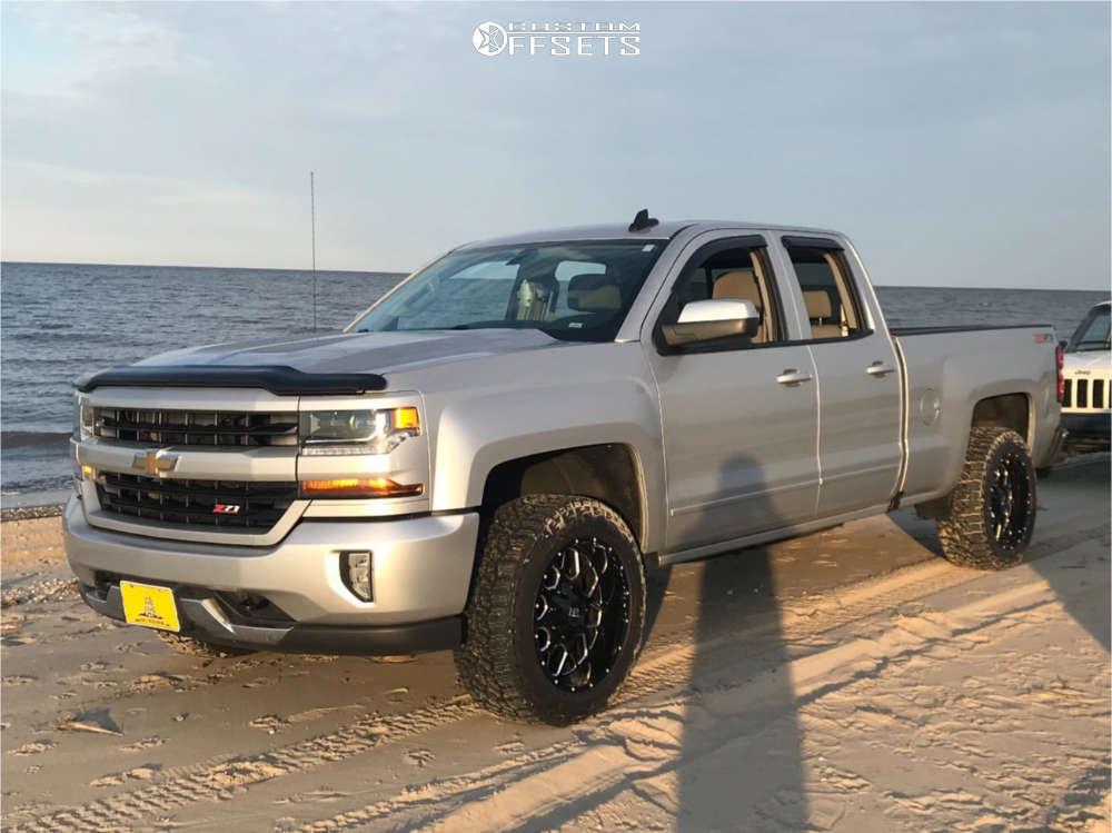 "2016 Chevrolet Silverado 1500 Aggressive > 1"" outside fender on 20x10 -19 offset Hardrock Gunner and 285/55 Falken WildPeak AT3W on Leveling Kit - Custom Offsets Gallery"