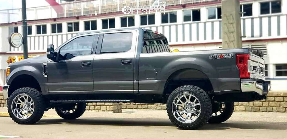 """2017 Ford F-250 Super Duty Aggressive > 1"""" outside fender on 22x12 -44 offset Hostile Rage and 35""""x12.5"""" Fury Offroad Country Hunter Mt on Suspension Lift 4"""" - Custom Offsets Gallery"""