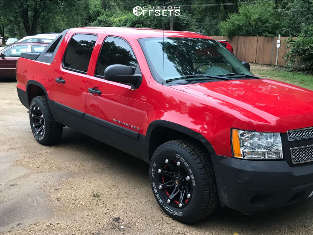 """2007 Chevrolet Avalanche Aggressive > 1"""" outside fender on 18x9 0 offset Ballistic Jester & 275/70 Cooper Discoverer Rtx on Stock Suspension - Custom Offsets Gallery"""