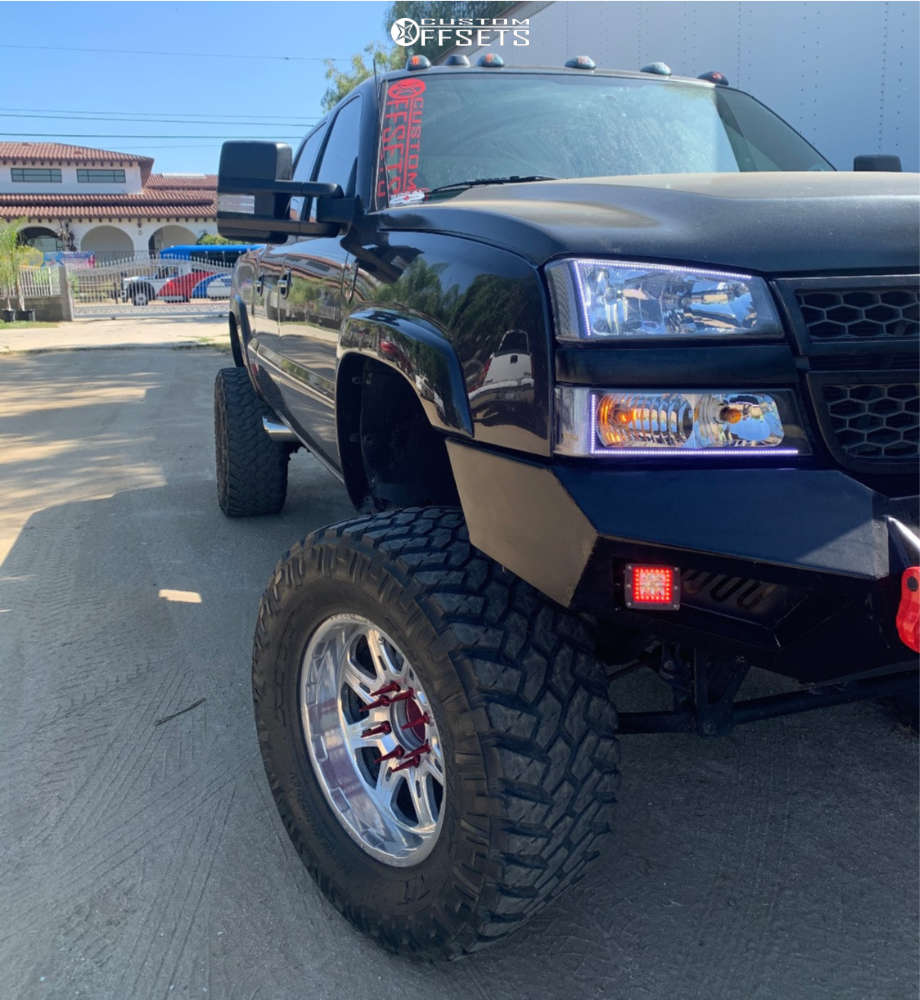"""2005 Chevrolet Silverado 2500 Super Aggressive 3""""-5"""" on 20x10 -25 offset Weld Racing Cheyenne & 38""""x15.5"""" Nitto Trail Grappler on Suspension Lift 8.5"""" - Custom Offsets Gallery"""