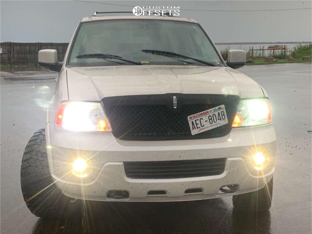 "2004 Lincoln Navigator Aggressive > 1"" outside fender on 20x12 -44 offset Monster Offroad M12 & 33""x12.5"" Kanati Mud Hog on Suspension Lift 3"" - Custom Offsets Gallery"