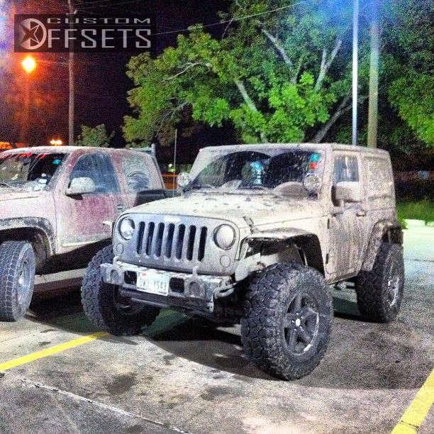 "2012 Jeep Wrangler Aggressive > 1"" outside fender on 17x8.5 0 offset Original Rubicon & 35""x12.5"" Fierce Attitude MT on Suspension Lift 3"" - Custom Offsets Gallery"