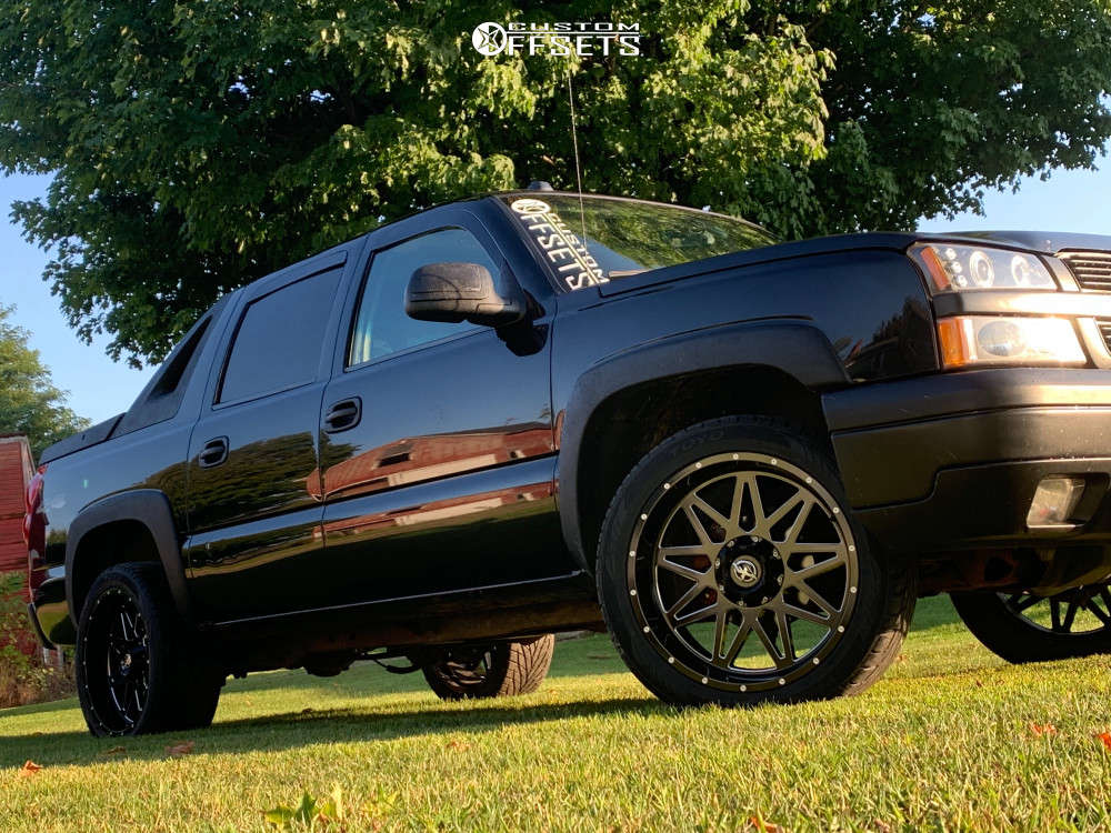 2004 Chevrolet Avalanche 1500 Slightly Aggressive on 22x10 -12 offset XF Offroad Xf-211 & 305/45 Toyo Tires Proxes S/t on Leveling Kit - Custom Offsets Gallery