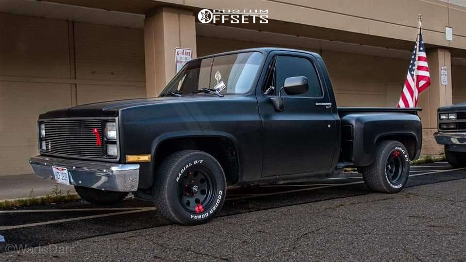 1986 Chevrolet C10 Tucked on 15x8 -19 offset American Racing Baja & 255/50 Cooper Cobra Radial Gt on Lowered 4F / 6R - Custom Offsets Gallery
