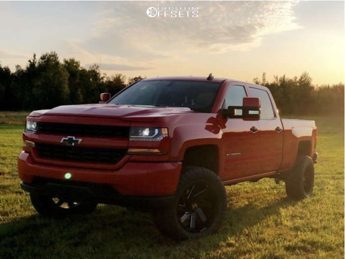 """2018 Chevrolet Silverado 1500 Aggressive > 1"""" outside fender on 20x10 -25 offset ARKON OFF-ROAD Lincoln and 305/55 Nitto Ridge Grappler on Suspension Lift 4"""" - Custom Offsets Gallery"""