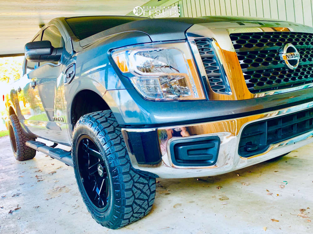 """2017 Nissan Titan Aggressive > 1"""" outside fender on 20x10 -25 offset ARKON OFF-ROAD Lincoln and 275/60 Nitto Ridge Grappler on Leveling Kit - Custom Offsets Gallery"""