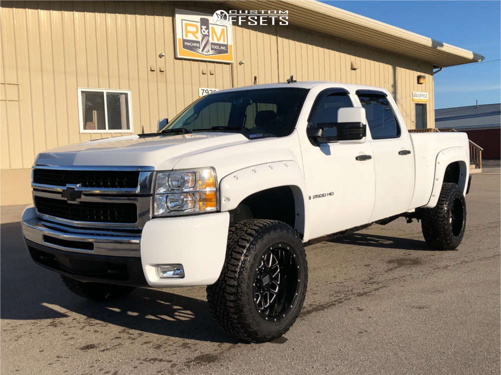 """2009 Chevrolet Silverado 2500 HD Aggressive > 1"""" outside fender on 20x12 -44 offset XD Xd820 and 35""""x12.5"""" Goodyear Wrangler Ultraterrain At on Suspension Lift 3"""" - Custom Offsets Gallery"""