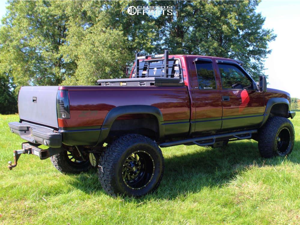"1998 GMC K1500 Super Aggressive 3""-5"" on 20x12 -44 offset Hardrock Crusher & 38""x15.5"" Milestar Patagonia Mt on Suspension Lift 6"" & Body 3"" - Custom Offsets Gallery"