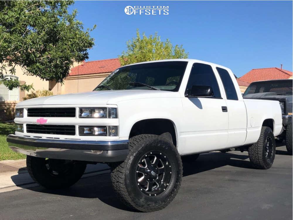 "1995 Chevrolet C1500 Aggressive > 1"" outside fender on 17x9 -12 offset Rev Offroad 885 & 285/70 Falken Wildpeak At3w on Suspension Lift 4"" - Custom Offsets Gallery"