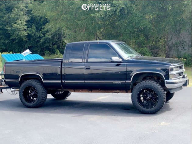 """1998 Chevrolet C1500 Aggressive > 1"""" outside fender on 20x12 -44 offset Hardrock Gunner & 35""""x12.5"""" Ironman All Country Mt on Suspension Lift 7"""" - Custom Offsets Gallery"""