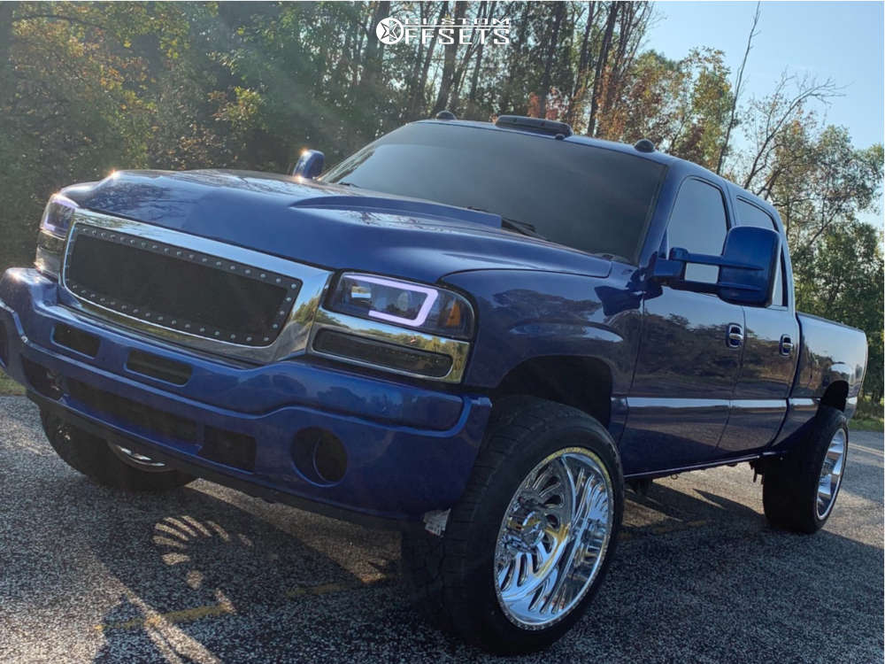 """2006 GMC Sierra 2500 HD Classic Slightly Aggressive on 22x12 -40 offset American Force Flex Ss & 305/40 Nitto Nt420s on Level 2"""" Drop Rear - Custom Offsets Gallery"""