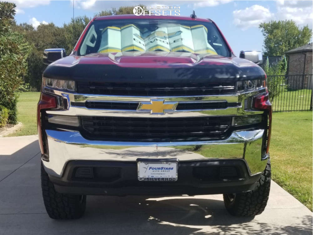 """2019 Chevrolet Silverado 1500 Aggressive > 1"""" outside fender on 20x10 -12 offset Steel Off-Road Bulip and 35""""x12.5"""" Toyo Tires Open Country A/t Ii on Suspension Lift 6"""" - Custom Offsets Gallery"""