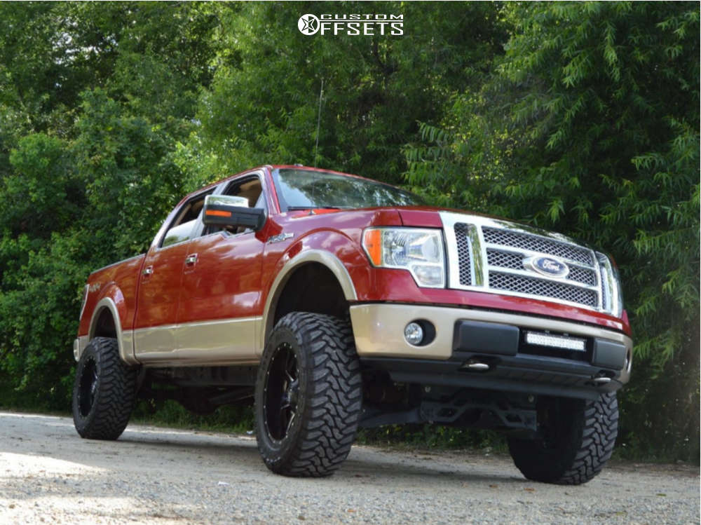 """2011 Ford F-150 Aggressive > 1"""" outside fender on 20x10 -24 offset Fuel Maverick D538 and 35""""x12.5"""" Toyo Tires Open Country M/T on Suspension Lift 6"""" - Custom Offsets Gallery"""