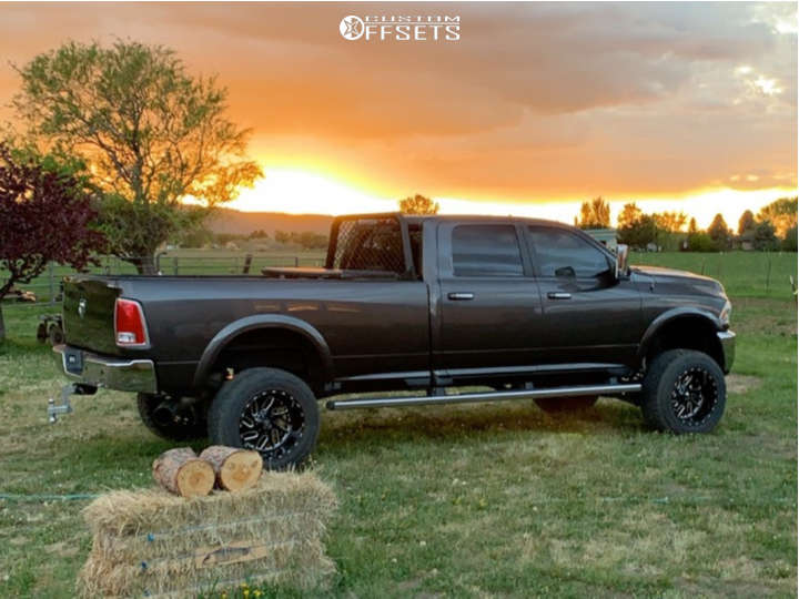 """2014 Ram 3500 Aggressive > 1"""" outside fender on 20x12 -44 offset Fuel Triton D581 & 35""""x12.5"""" Toyo Tires Open Country R/T on Suspension Lift 4.5"""" - Custom Offsets Gallery"""