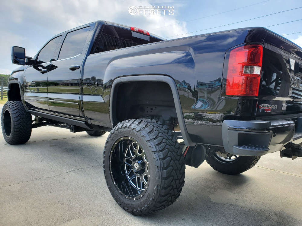 """2019 GMC Sierra 2500 HD Aggressive > 1"""" outside fender on 22x12 -44 offset Scorpion SC22 & 37""""x13.5"""" Toyo Tires Open Country M/t on Suspension Lift 9"""" - Custom Offsets Gallery"""