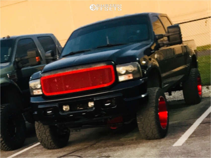 """2004 Ford F-350 Super Duty Slightly Aggressive on 20x12 -44 offset TIS 544RM & 305/55 Dick Cepek Fun Country on Suspension Lift 6"""" - Custom Offsets Gallery"""