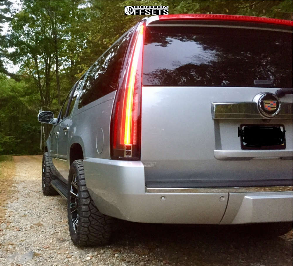 2013 Cadillac Escalade ESV Slightly Aggressive on 20x9 1 offset Fuel Assault and 285/50 Nitto Ridge Grappler on Stock Suspension - Custom Offsets Gallery