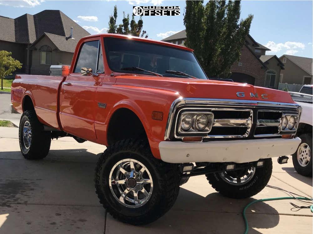 "1971 GMC C15/C1500 Pickup Aggressive > 1"" outside fender on 18x9 -12 offset Fuel Maverick & 325/65 Cooper Discoverer Stt Pro on Suspension Lift 6"" - Custom Offsets Gallery"
