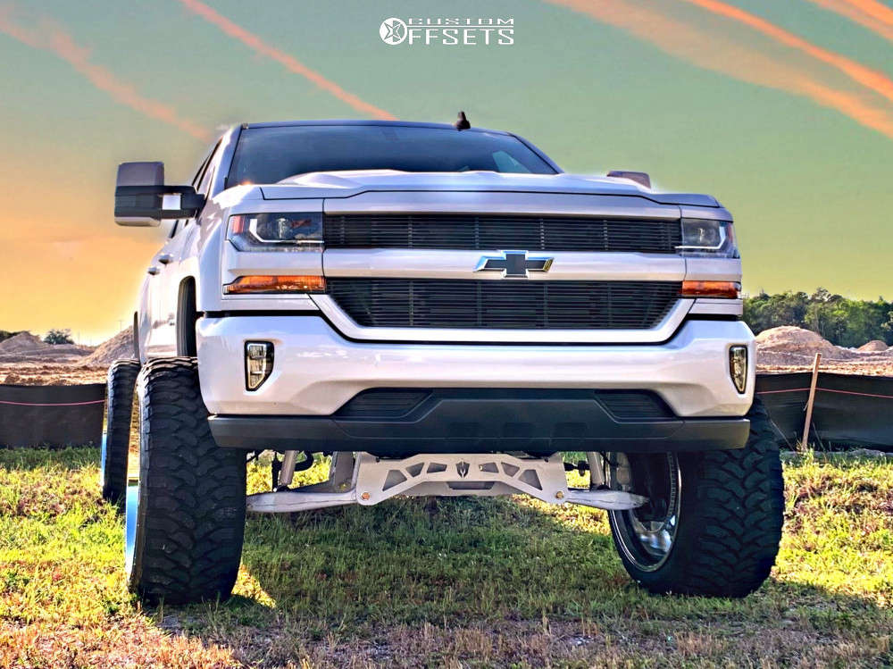 """2017 Chevrolet Silverado 1500 Hella Stance >5"""" on 26x14 -76 offset Hardcore Offroad Hc15 & 37""""x13.5"""" Ginell Gn3000 on Suspension Lift 9"""" - Custom Offsets Gallery"""