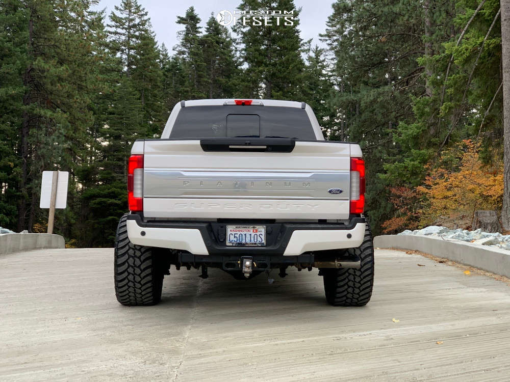 """2017 Ford F-350 Super Duty Super Aggressive 3""""-5"""" on 24x14 -81 offset ARKON OFF-ROAD Crown Series Victory and 35""""x13.5"""" AMP Mud Terrain Attack Mt A on Leveling Kit - Custom Offsets Gallery"""