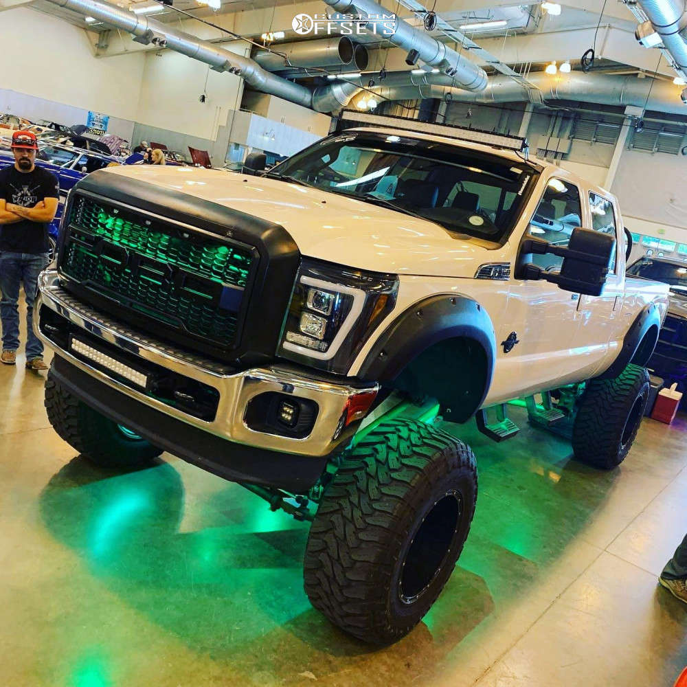 """2016 Ford F-350 Super Duty Super Aggressive 3""""-5"""" on 20x14 -75 offset Fuel Hostage D531 and 40""""x15.5"""" Toyo Tires Open Country M/T on Suspension Lift 12"""" - Custom Offsets Gallery"""