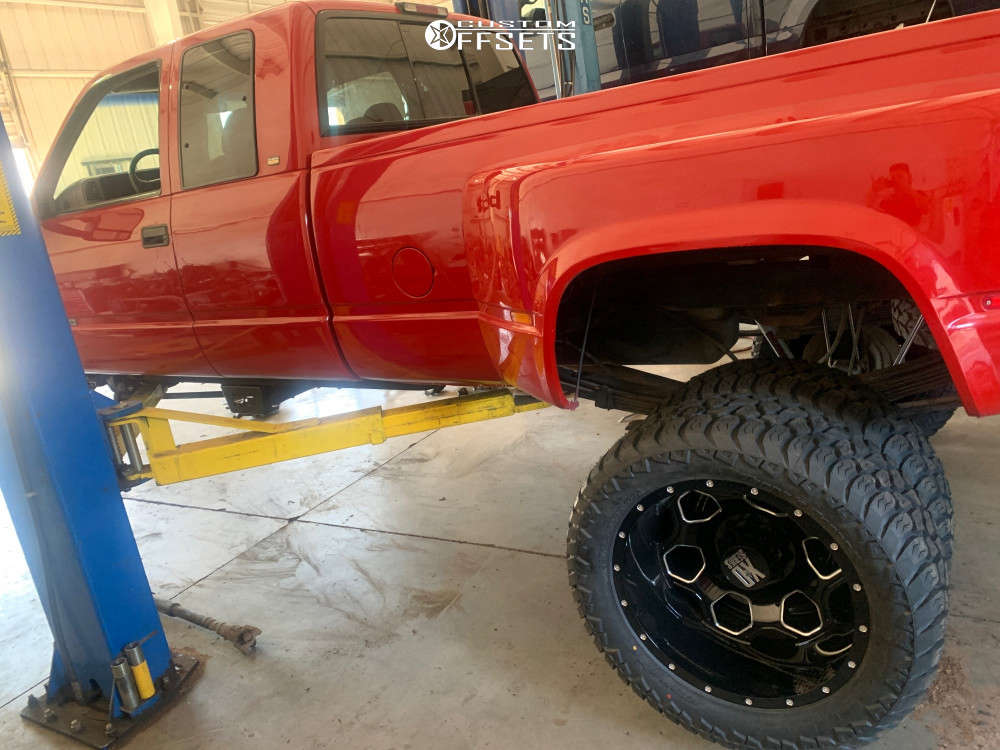 """1997 Chevrolet K3500 Super Aggressive 3""""-5"""" on 22x8.25 -111 offset XD Xd815 and 325/50 AMP Mud Terrain Attack Mt A on Suspension Lift 6"""" - Custom Offsets Gallery"""