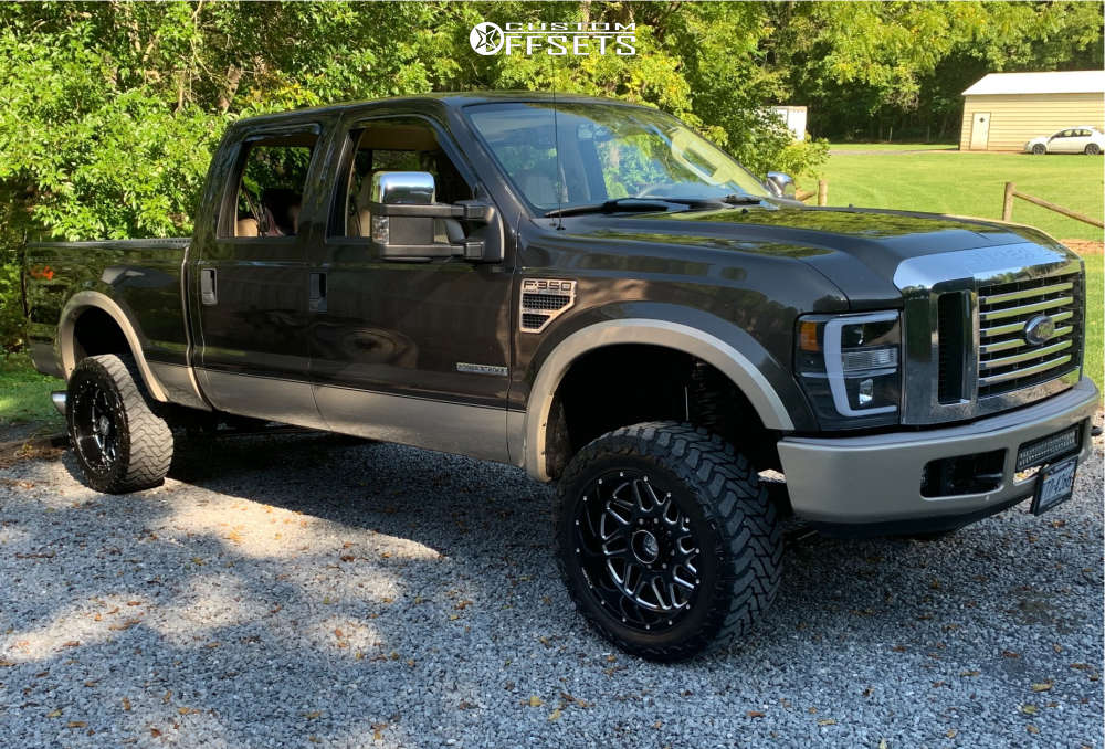 """2008 Ford F-350 Super Duty Aggressive > 1"""" outside fender on 20x12 -44 offset Hostile Sprocket and 33""""x12.5"""" Atturo Trail Blade Mt on Suspension Lift 3"""" - Custom Offsets Gallery"""