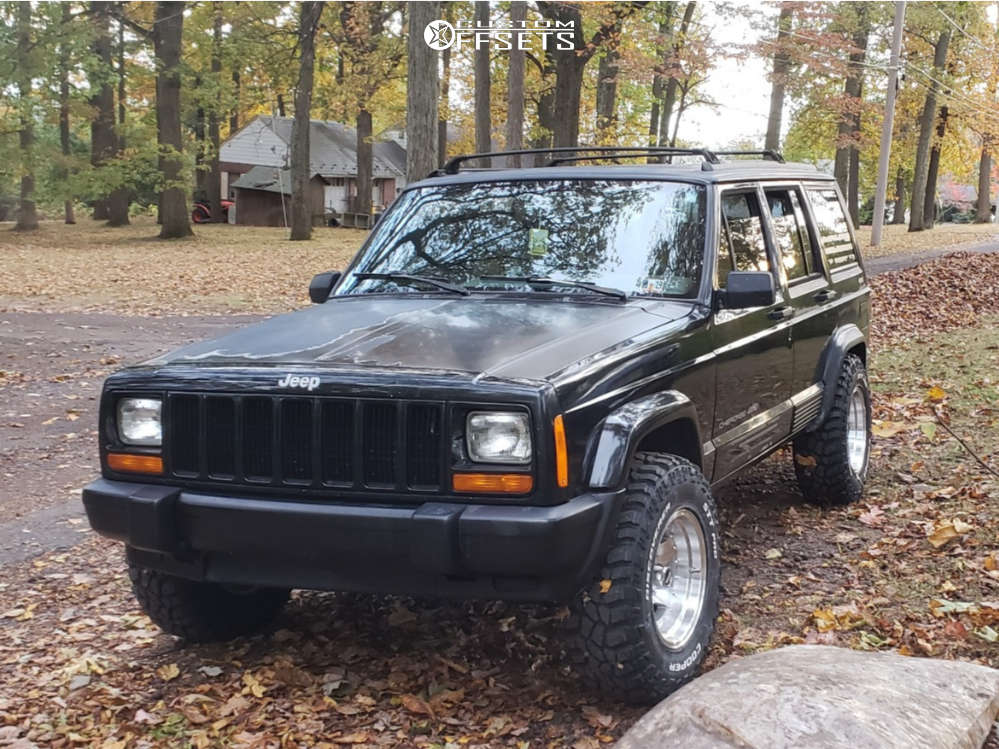 """1996 Jeep Cherokee Slightly Aggressive on 15x8 -19 offset American Racing Ar23 & 30""""x9.5"""" Cooper Discoverer Stt Pro on Stock - Custom Offsets Gallery"""