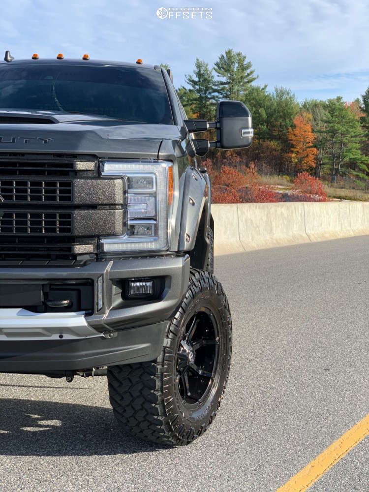 """2019 Ford F-350 Super Duty Aggressive > 1"""" outside fender on 20x10 -24 offset Fuel Coupler and 38""""x13.5"""" Nitto Trail Grappler on Suspension Lift 8"""" - Custom Offsets Gallery"""