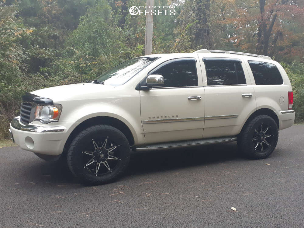 """2007 Chrysler Aspen Aggressive > 1"""" outside fender on 20x9 0 offset Mayhem Rampage and 305/55 AMP Terrain Attack At A on Stock Suspension - Custom Offsets Gallery"""