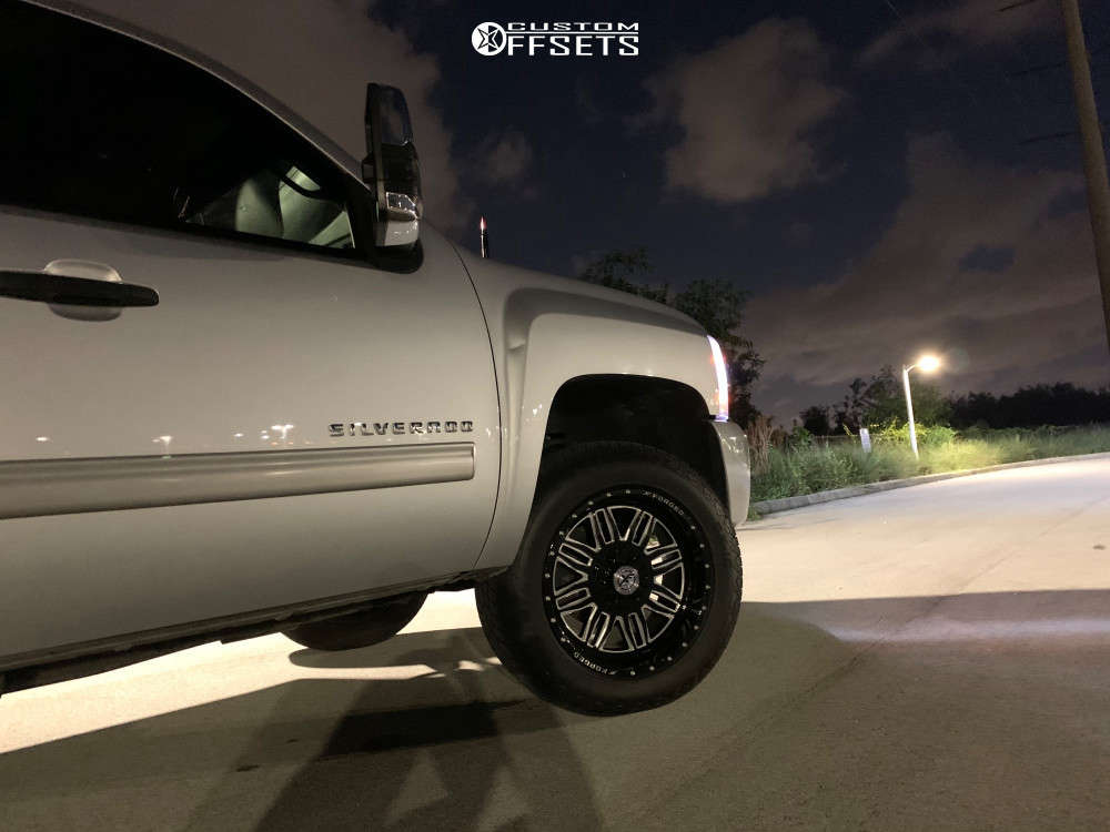 """2013 Chevrolet Silverado 1500 Aggressive > 1"""" outside fender on 20x10 -24 offset XF Forged Xfx-303 & 285/50 Delinte Dx-10 Bandit At on Suspension Lift 2.5"""" - Custom Offsets Gallery"""