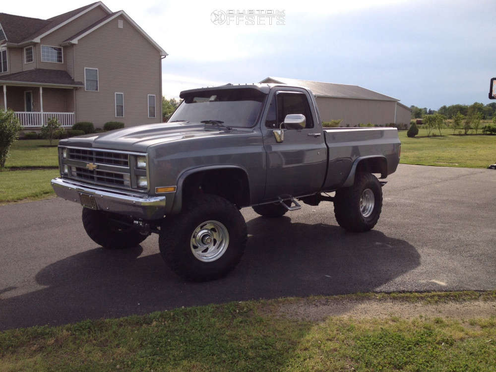 """1986 Chevrolet K10 Pickup Aggressive > 1"""" outside fender on 15x10 -25 offset Weld Racing Scorpio & 33""""x12.5"""" Dick Cepek Fun Country on Suspension Lift 5.5"""" - Custom Offsets Gallery"""