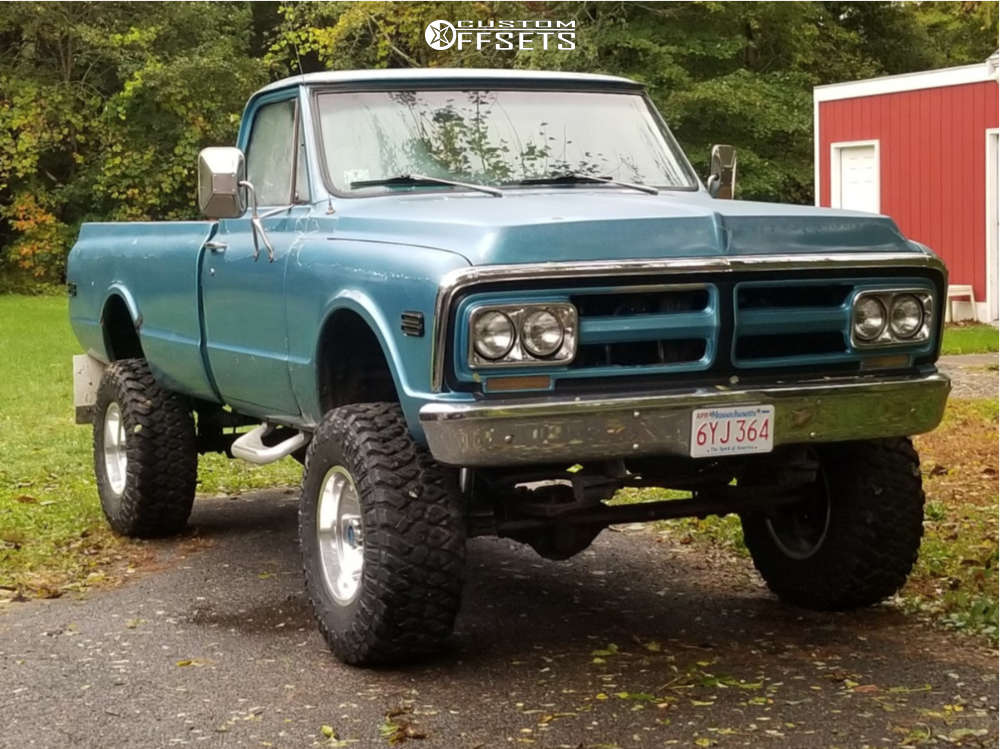 """1972 GMC C15/C1500 Pickup Aggressive > 1"""" outside fender on 17x10 -45 offset US Mags Indy & 35""""x12.5"""" Maxxis Razr Mt on Suspension Lift 4"""" - Custom Offsets Gallery"""